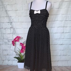 Rock Steady Heather Dress Black Polka Dots Sz M